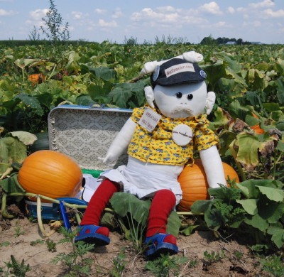 Boneheaded Tourist in pumpkin patch