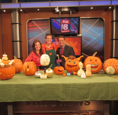 Carving pumpkins on Fox 8 News