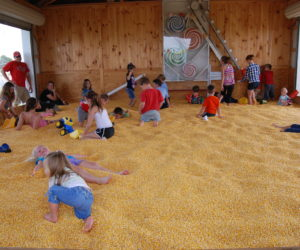 Kids enjoying the giant corn bin