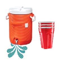 Water container and cups